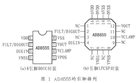 零漂移橋式傳感放大器AD8555的性能特點及應用...