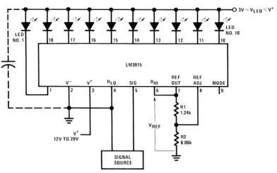 LM3915单片集成电路芯片的数据手册免费下载