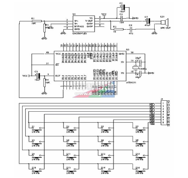 基于AT89S51单片机设计的电子琴