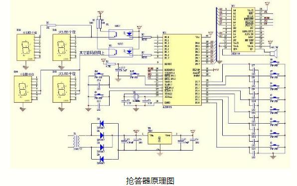 使用51單片機設計一個帶語音報數功能的搶答器原理圖