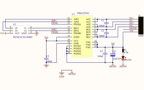 TB6612FNG双路全桥驱动芯片的数据手册和电路原理图免费下载
