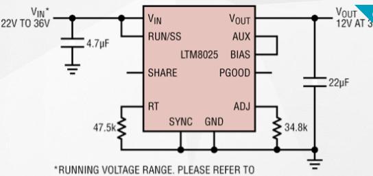 DC/DC微型模块稳压器LTM8025的性能特点和应用