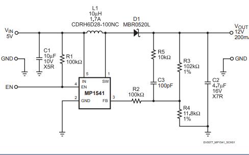 MP1541电流模式升压转换器的数据手册免费下载