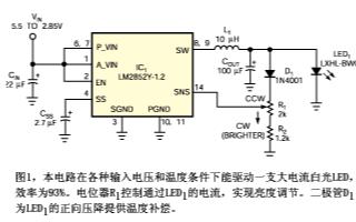 采用开关稳压器对LED偏置点进行合理控制