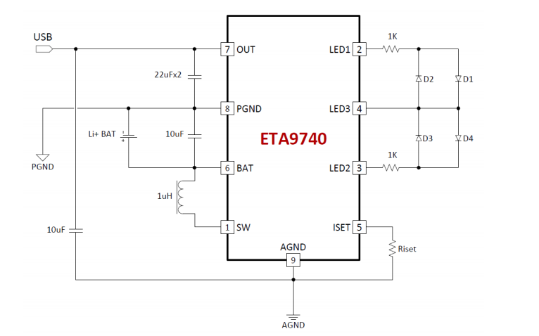 ETA9740移动电源单芯片的方案详细说明