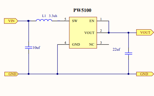 PW5100干电池升压芯片的电路原理图和PCB资料免费下载