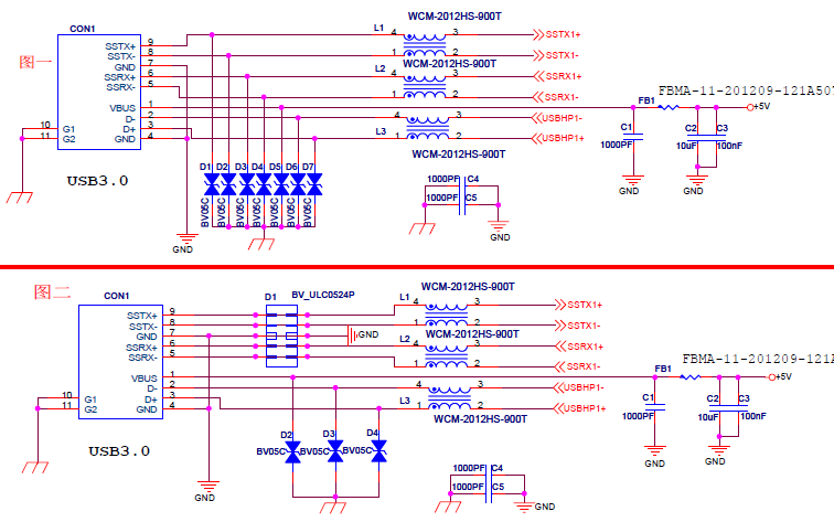 USB3.0接口EMC的设计标准电路原理图免费下载