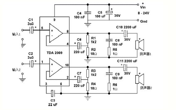 如何使用TDA2009A功放集成电路制作一个立体...