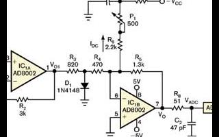 采用AD8002双电流反馈运算放大器实现ADC箝...