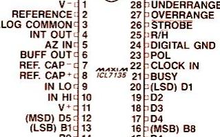 單片4 1/2位A/D轉換器7135的特點、引腳功能及應用范圍