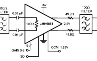 全差分可編高速放大器LMH6881的主要特性和典...