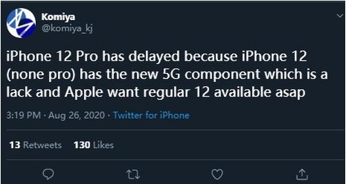 由于5G基带部件缺货,苹果iPhone 12或将...