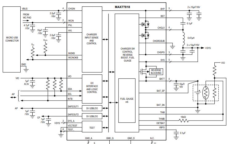 MAX77818开关模式电池充电器的数据手册免费下载