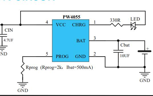 PW4055鋰電池充電芯片的數據手冊免費下載