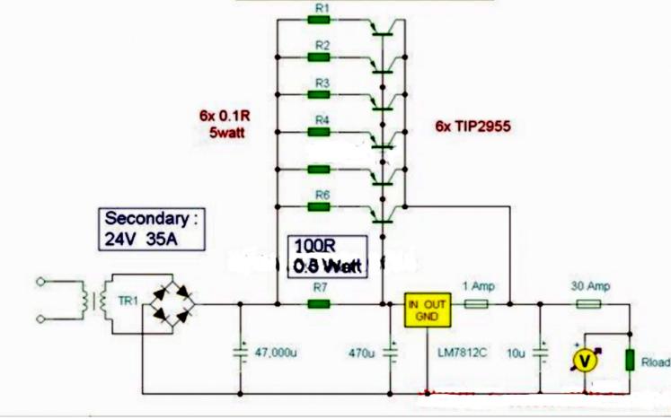 7812芯片實現的擴流穩壓電源電路圖資料簡介