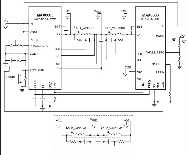 MAX8686 PWM 控制器與雙相 buck 轉換器的結構原理