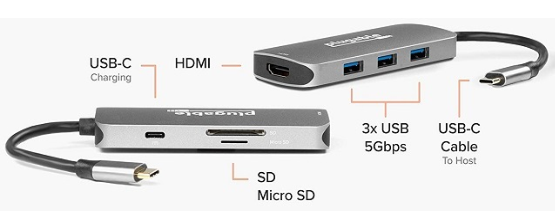 Plugable 推七合一USB-C适配器,兼容三大系统