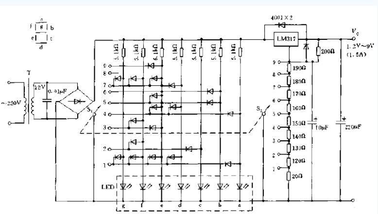 LM317数字显示稳压电源电路图