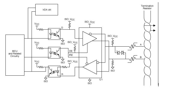 典型的RS485端口防ㄨ护电路