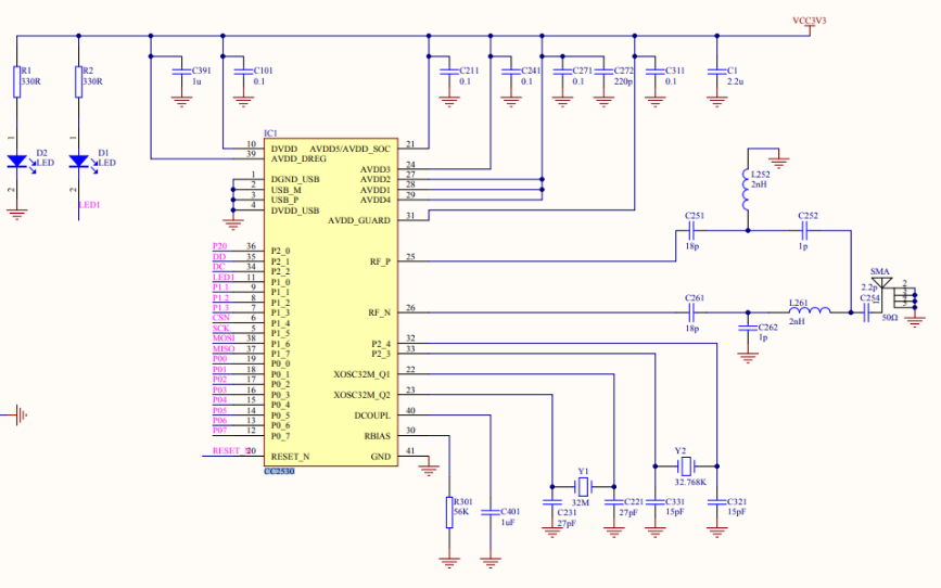 CC2530 Zigbee射频模块开发板的电路原理图免费下载