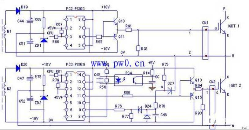 东元7200MA变频器U相的驱动々电路图