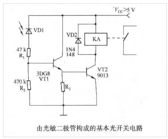 光敏二极管构成的基本光开关电路