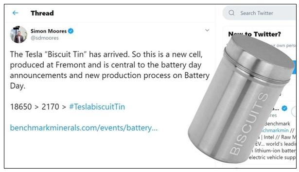 爆特斯拉新型电池成本降至100美元/千瓦时,或命名为饼干盒