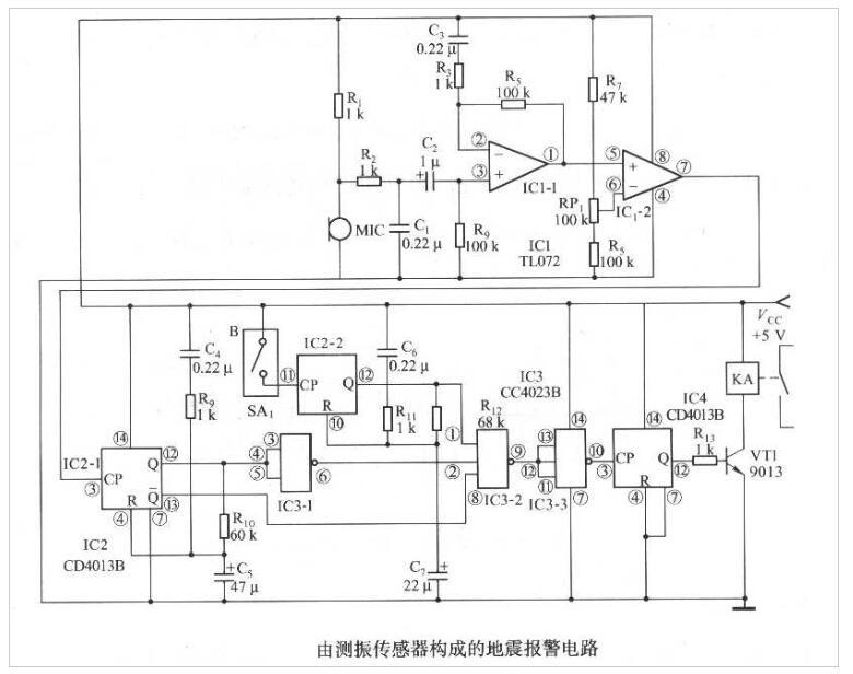 测振传感器构成的地震报警电路