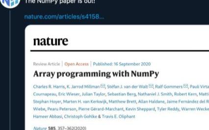 NumPy 诞生过去15年后  其核心开发团队的论文终于在 Nature 上发表