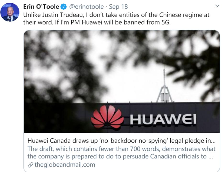 加拿大保守党领袖表态:若当选总统,华为将被禁止参...