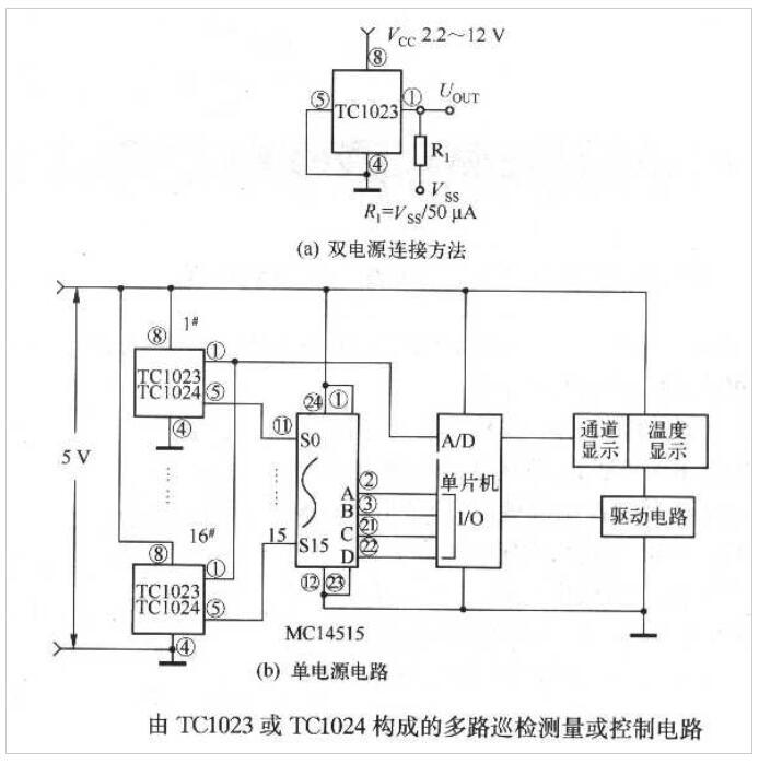 温度传感器TC1023/TC1024构成的多路巡检测量或控制电路