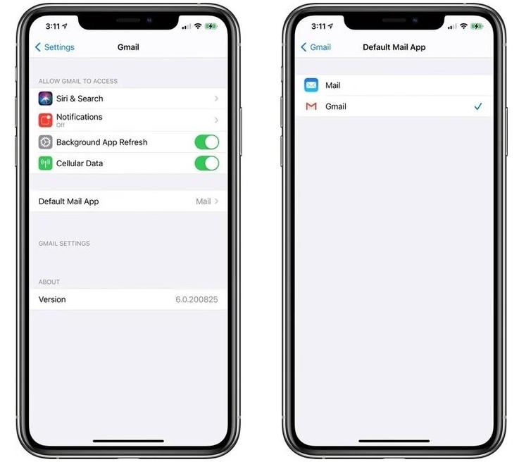 用户可在苹果iOS 14将第三方应用谷歌Gmail设置为iOS默认邮件