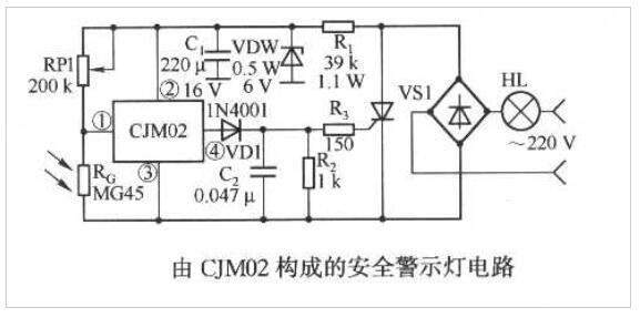 CJM02構成的安全警示燈電路