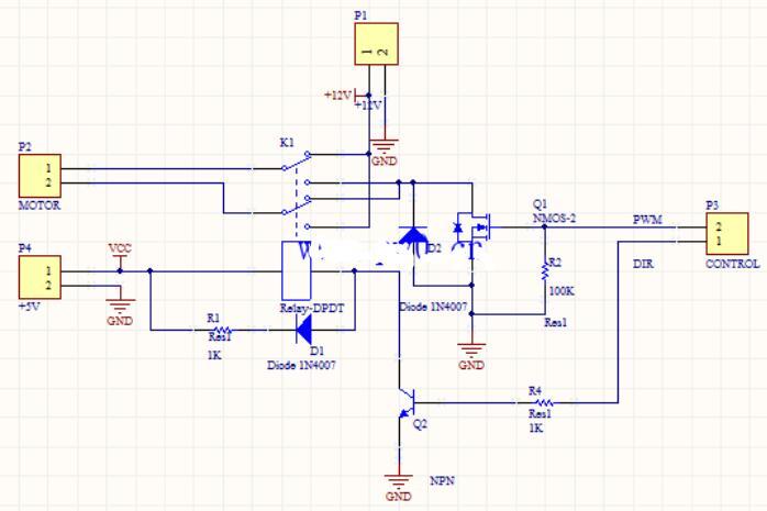 继电器操控电机电路图