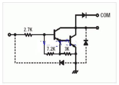ULN2003內部構造及等效電路圖