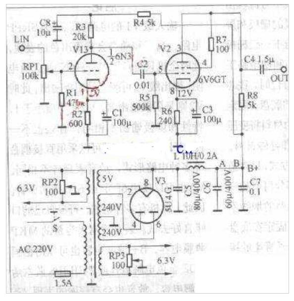 电子管的前级电路图