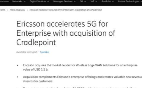 愛立信擬11億美元收購美國5G方案提供商Cradlepoint