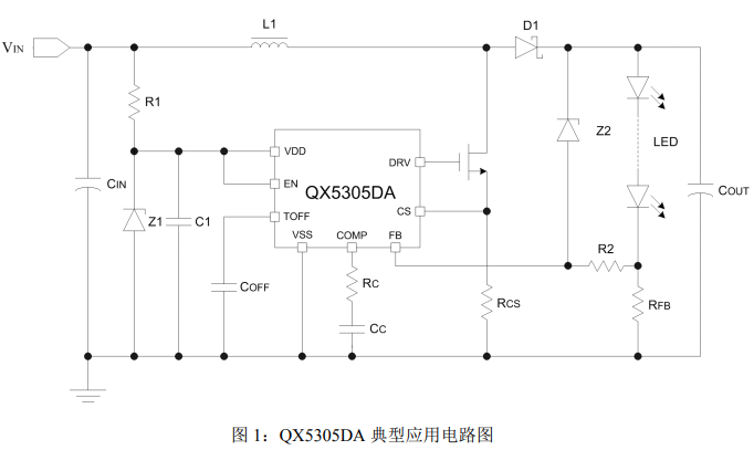 QX5305DA大功率LED灯恒流驱动控制芯片的数据手册免费下载