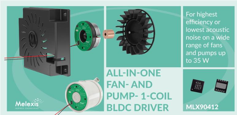 Melexis推出新型單線圈風扇和泵驅動器 IC MLX 90412