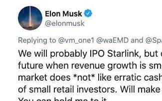 SpaceX的星链卫星互联网服务可能会在几年后IPO