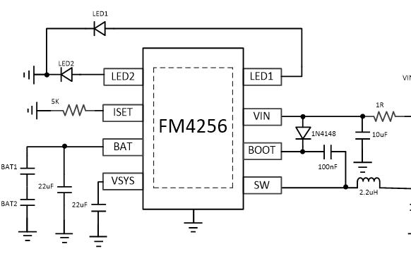 FM4256双节串联锂电池同步升压充电芯片的数据手册免费下载