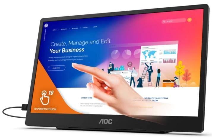 AOC推出了新款便攜式觸控顯示器,可作為外接顯示器使用