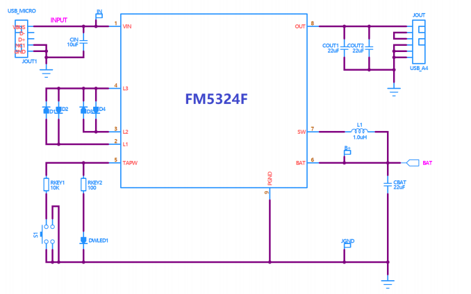 FM5324F移动电源管理芯片的数据手册免费下载