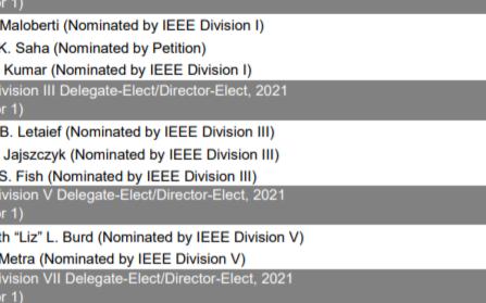 IEEE正式发布了2020年度选举结果