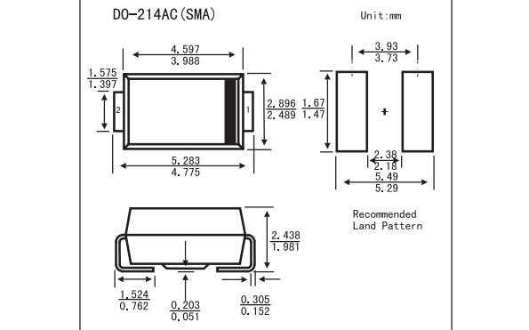 1SMA59-B系列表面貼裝齊納二極管的數據手冊免費下載