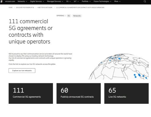 數據顯示:愛立信全球斬獲111個5G商用合同