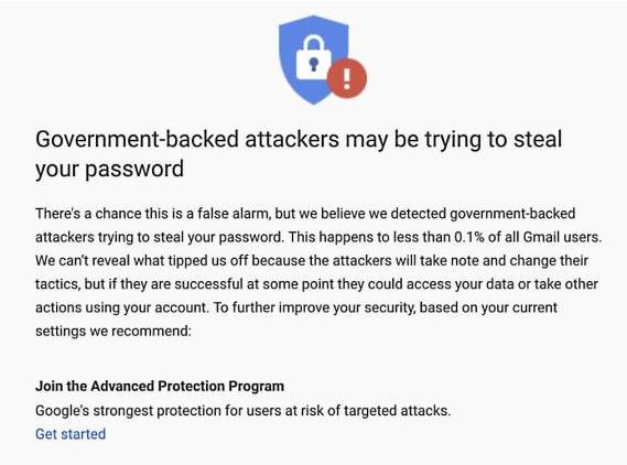 谷歌在2020年已发出3.3万次警告,提醒其国家发起的网络钓鱼攻击