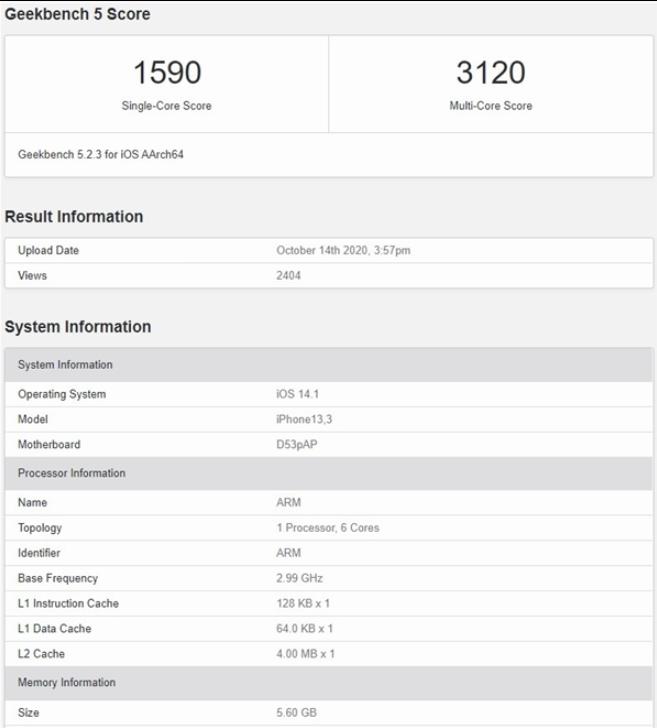 iPhone 12 Pro性能曝光,A14多核成績不理想,不如iPad Air 4