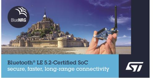 意法半导体发布Bluetooth®LE系统芯片(SoC)—— BlueNRG-LP