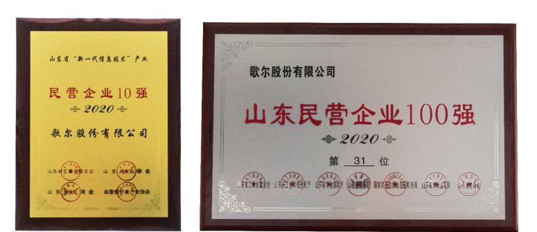 山东省新一代信息技术产业民营企业十强发布,歌尔位居第一